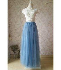 dusty blue maxi bridesmaid tulle skirt high waist full length blue wedding skirt