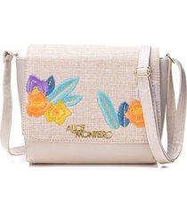 bolsa alice monteiro com tampa bordado floral - off white - kanui