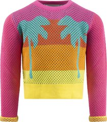 stella mccartney kids multicolor sweater for girl with palms