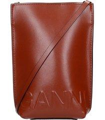ganni shoulder bag in brown leather