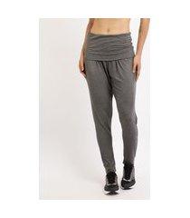 calça feminina jogger yoga cintura média cós dobrado cinza mescla escuro