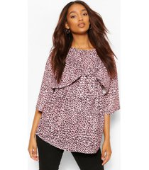maternity leopard tie front top, dusty pink