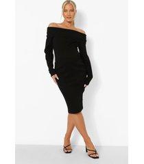 zwangerschap premium geribbelde midi jurk met uitgesneden hals, black