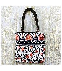 leather accent cotton tote handbag, 'peach blossom' (india)