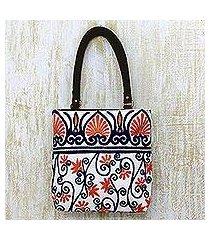 leather accent cotton tote handbag, 'peach blossom' (india)