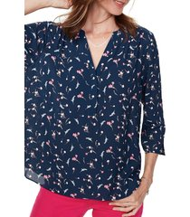 women's curves 360 by nydj perfect blouse, size x-small - blue