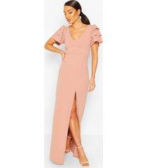 plunge ruffle sleeve maxi bridesmaid dress, soft pink