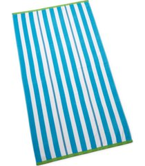 closeout! martha stewart collection cabana stripe beach towel, created for macy's bedding