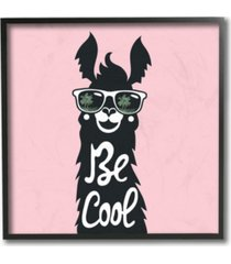 """stupell industries be cool llama with sunglasses framed giclee art, 12"""" x 12"""""""