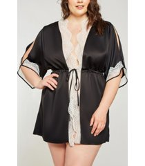 icollection plus size antique scalloped lace robe with side split sleeves, online only