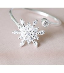 0.20 ct diamond solid 925 sterling silver christmas sparkle snowflake gift ring