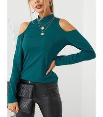camicetta casual da donna a maniche lunghe con spalle scoperte tinta unita