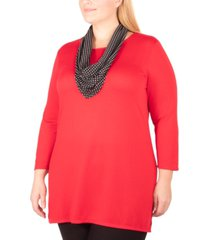 ny collection plus size scarf-embellished 3/4-sleeve top