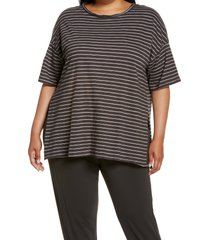 plus size women's treasure & bond women's stripe t-shirt, size 2x - metallic