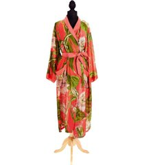 two's company coral passion flower robe gown with removable waist tie closure