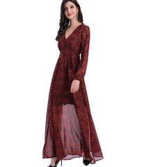 vestido largo floral rojo nicopoly