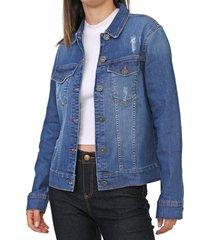 jaqueta jeans coca-cola jeans desgastes azul