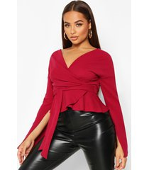 crepe split sleeve ruffle shoulder top, berry