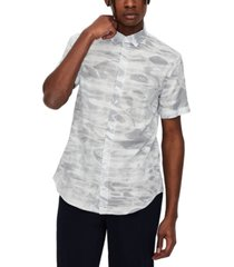 ax armani exchange men's regular-fit water-print plaid dobby shirt