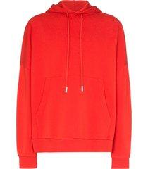 marcelo burlon county of milan dembossed cotton hoodie - red