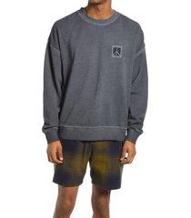 men's saturdays nyc ari peace men's crewneck sweatshirt, size small - grey