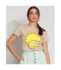 camiseta feminina manga curta lisa simpson decote redondo kaki