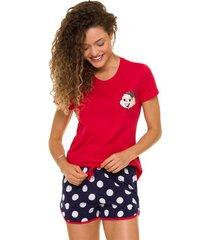 pijama short doll manga curta feminino mônica em algodão