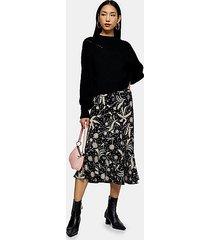 black dandelion print flounce midi skirt - black