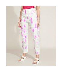 calça de sarja feminina mindset slouchy cintura super alta estampada tie dye off white