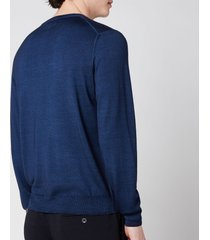 canali men's cotton crewneck long sleeve top - navy blue - it 48/m