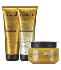 combo match fonte da nutrição fios grossos: shampoo + condicionador + máscara capilar