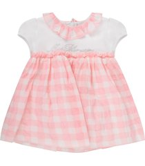 blumarine white and pink babygirl dress with logo