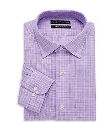 saks fifth avenue men's slim-fit plaid dress shirt - purple - size 15 32