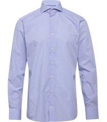check poplin shirt overhemd business blauw eton