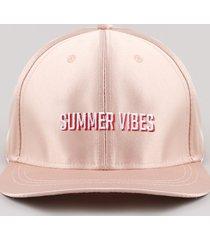 """boné masculino aba reta com bordado """"summer vibes"""" rosê"""