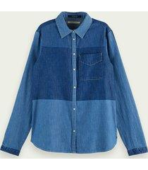 scotch & soda denim blouse in patchworkstijl met lange mouwen van 100% katoen