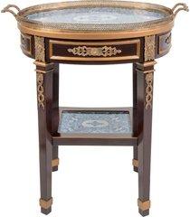 mesa lateral com bronze e tampo de porcelana navarra