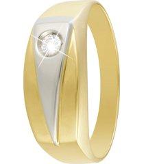 anello in oro 18 kt bicolore e zircone per uomo
