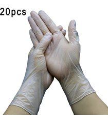 guantes desechables de plástico transparente para uso alimentario médicos guantes de pvc 20pcs