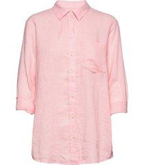 linen boyfriend shirt långärmad skjorta rosa gap