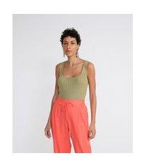 blusa regata em tricô canelado com decote quadrado e alças largas | marfinno | verde | p