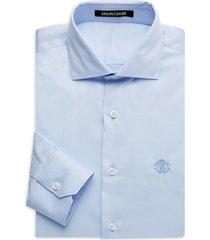 roberto cavalli men's regular-fit embroidered logo dress shirt - light blue - size 16.5 42