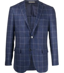 corneliani checked fine knit suit - blue