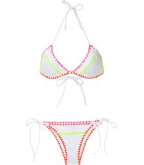 brigitte crochet neon trim bikini set - white