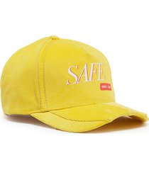 'safe' slogan print corduroy baseball cap