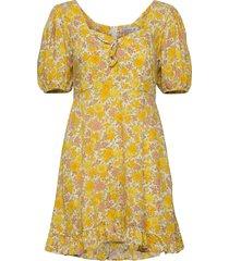 agathe mini dress knälång klänning gul faithfull the brand