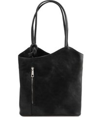 tuscany leather tl141497 patty - borsa donna in pelle convertibile a zaino nero