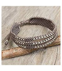 silver accent wristband bracelet, 'starlight and khaki' (thailand)