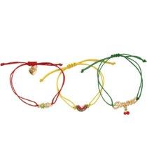 betsey johnson mixed fruit friendship bracelet set, 3 pieces