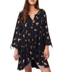 women's free people winter sun floral tunic, size medium - black